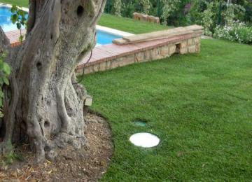 Mise en place de spots afin de mettre les pièces importante du jardin en valeur